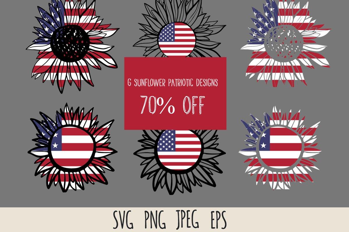 Patriotic sunflower SVG cut file bundle example image 1