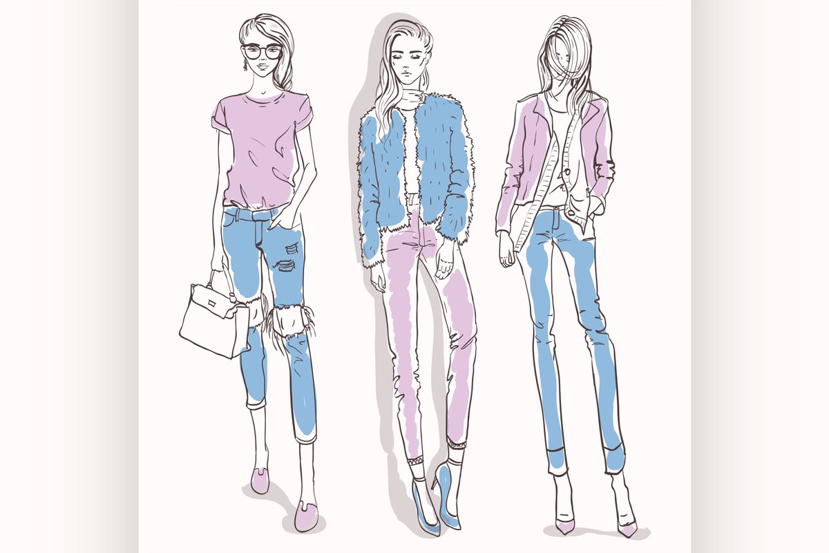 Set with color scetch of trendy girls example image 1