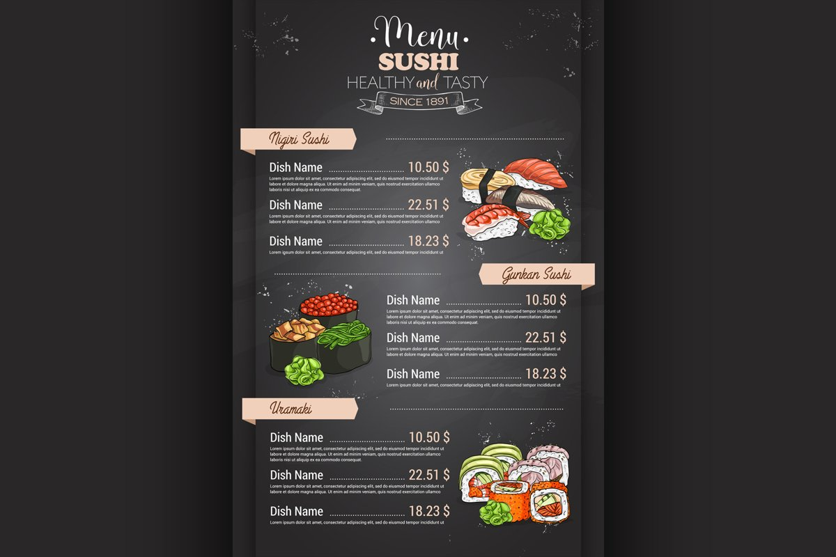 Restaurant vertical color sushi menu example image 1