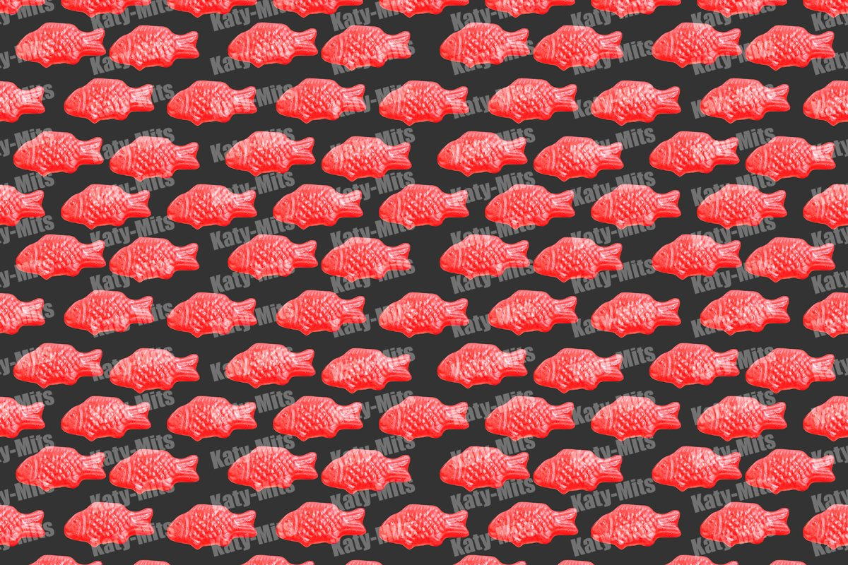Red sweet fish jelly pattern 12000x9000 px example image 1