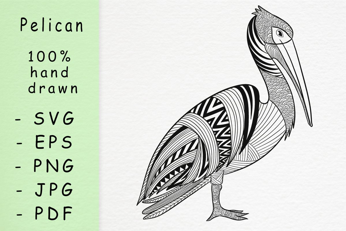 Hand drawn Pelican with patterns example image 1