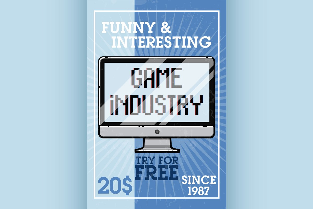 Color vintage game industry banner example image 1