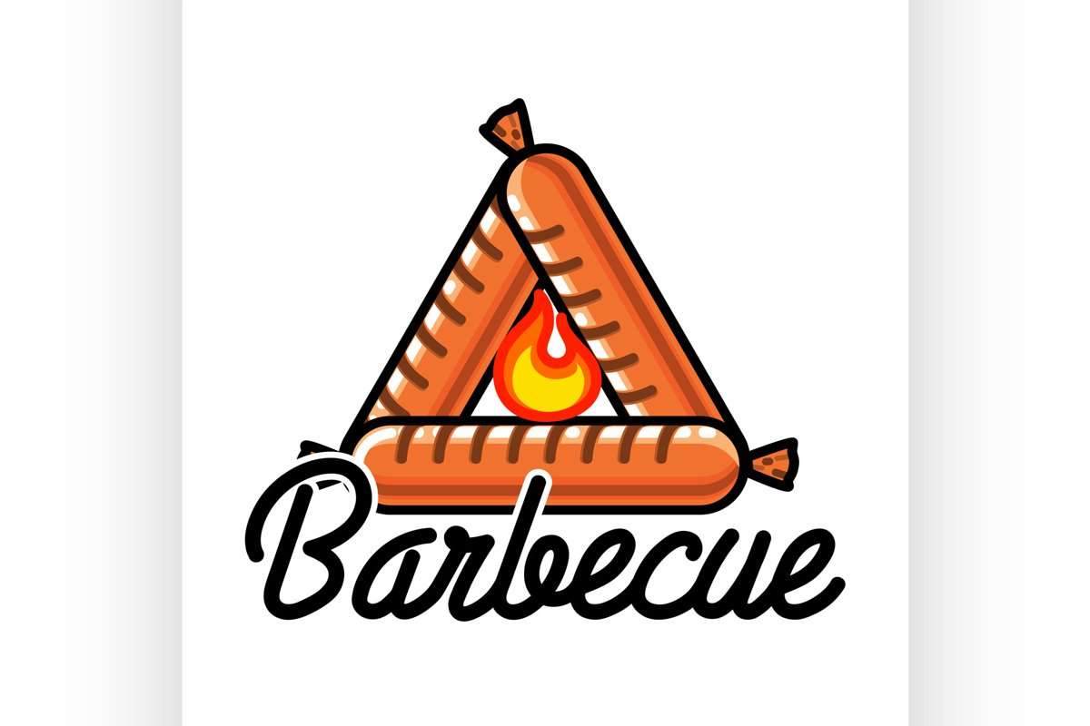 Color vintage barbecue emblem example image 1