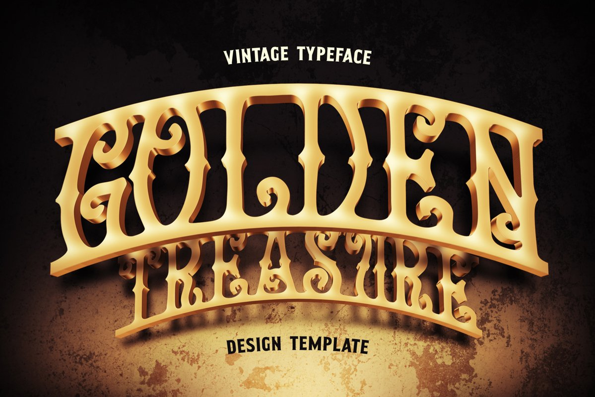 Golden Treasure font & template example image 1