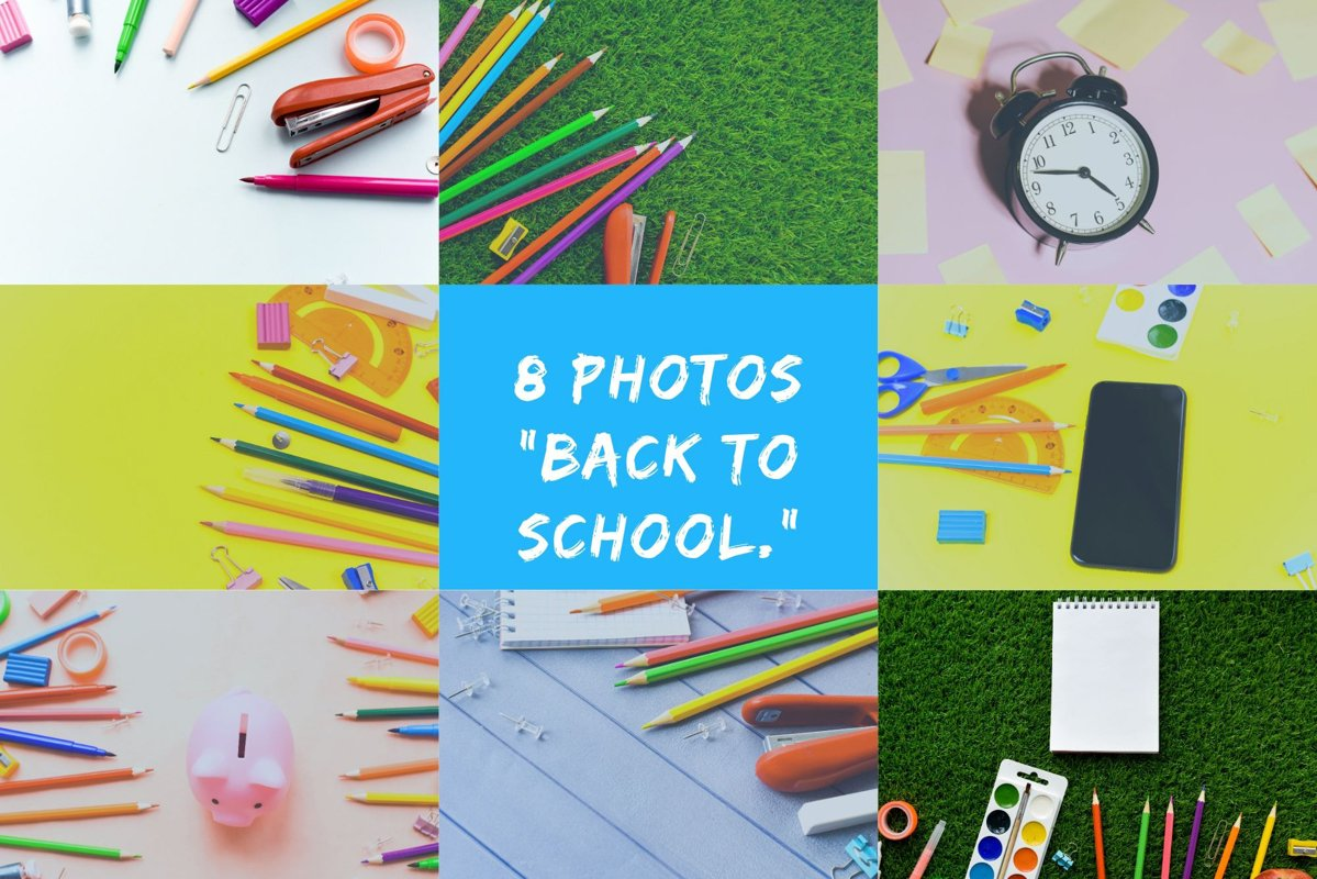 "8 photos ""Back to school."" Copy space, mock up example image 1"