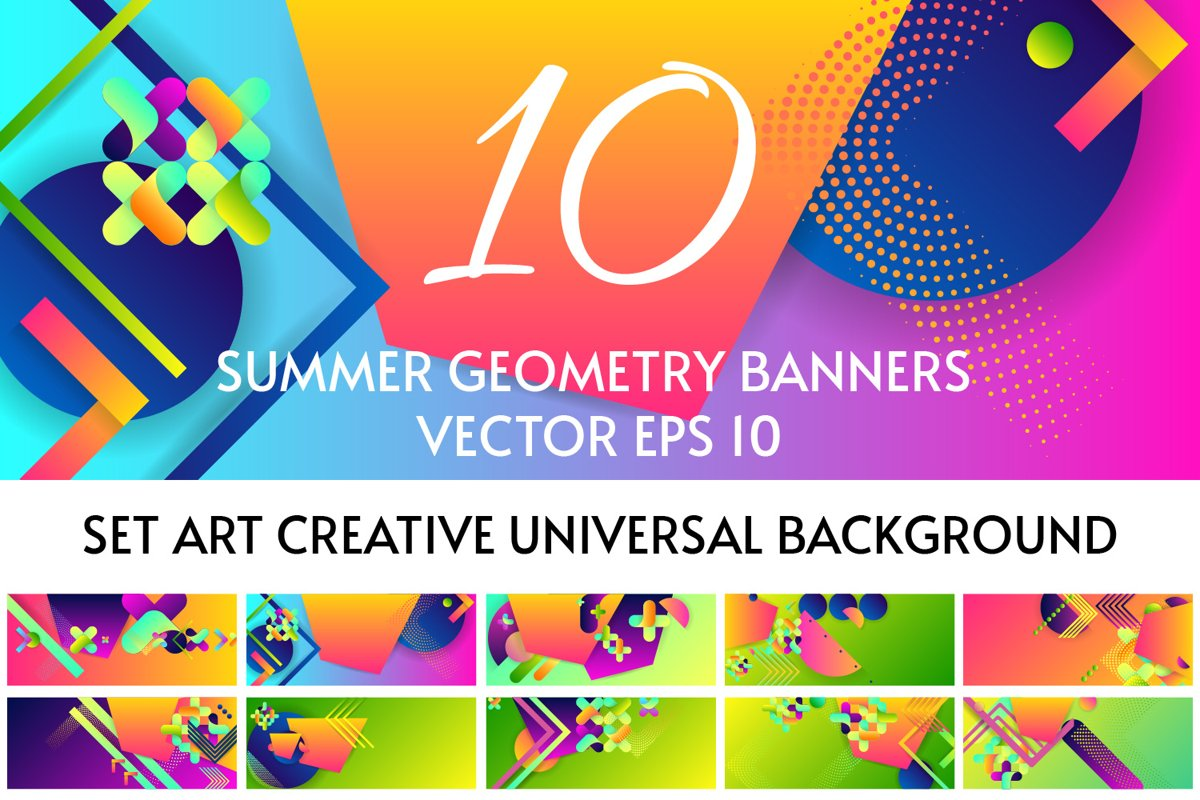 Summer colors geometry bright banners templates Ai SVG Eps example image 1