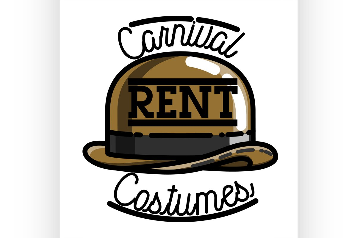Color vintage carnival costumes rent emblem example image 1