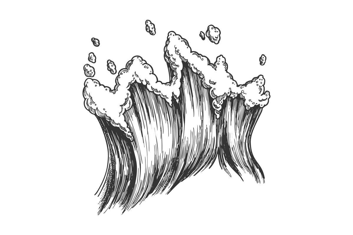 Rushing Tropical Sea Marine Wave With Drop Vector example image 1