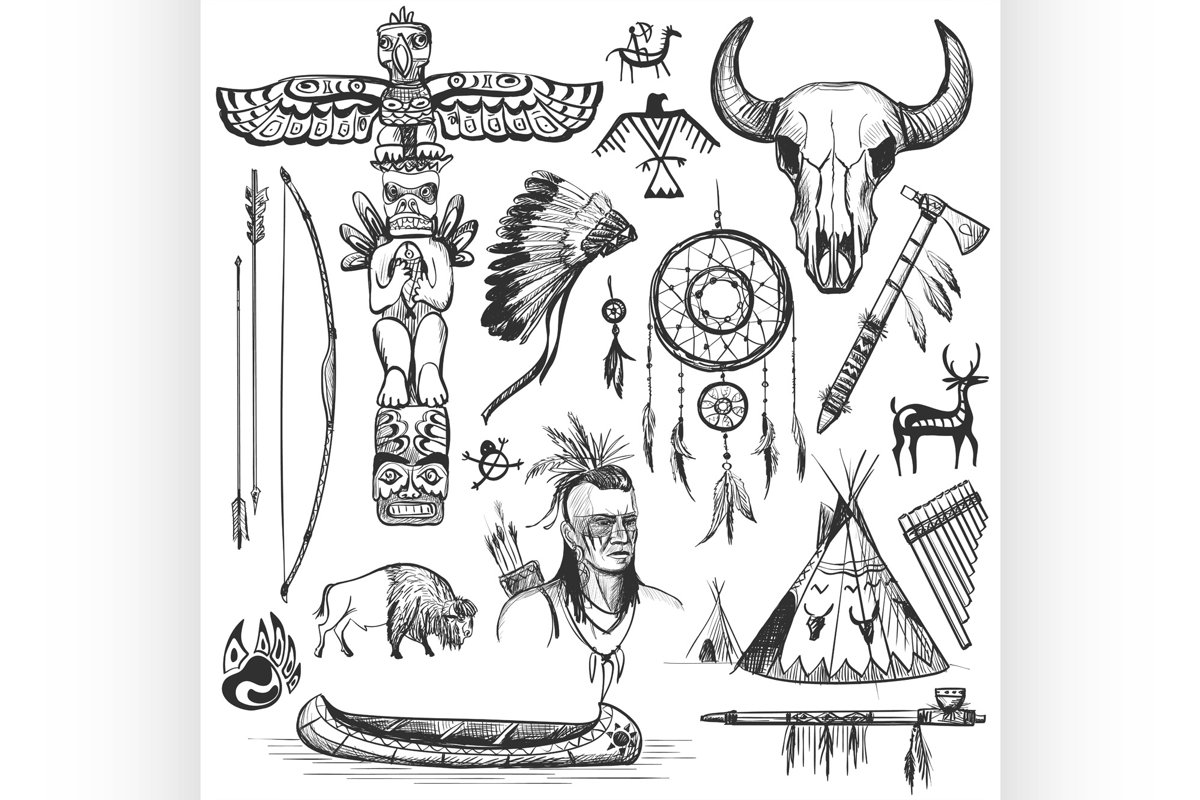 Set of wild west american indian designed elements. example image 1