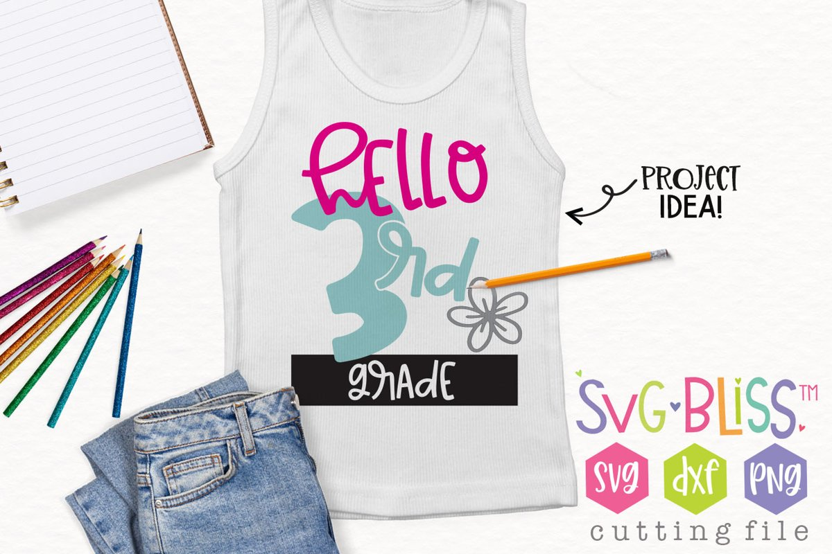 Hello 3rd Grade Back to School SVG Cut File example image 1