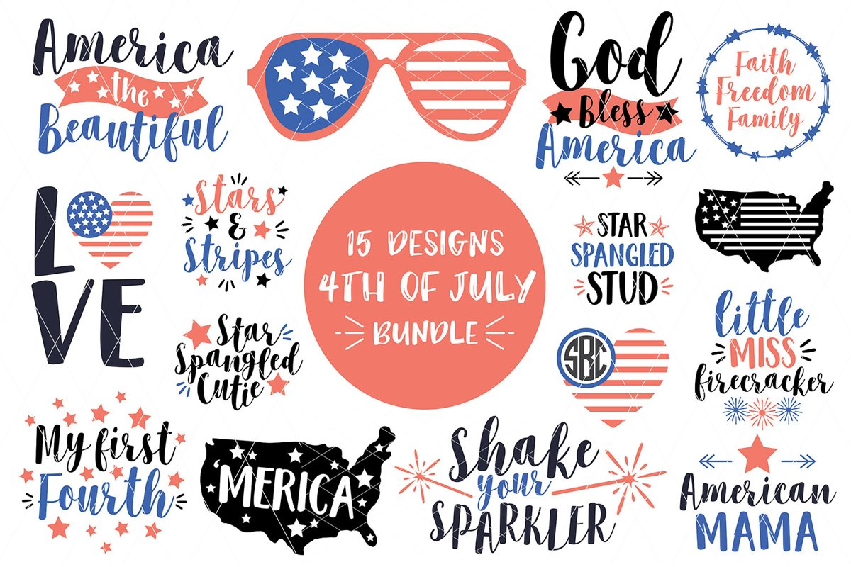 4th OF JULY SVG Bundle SVG DXF PNG example image 1