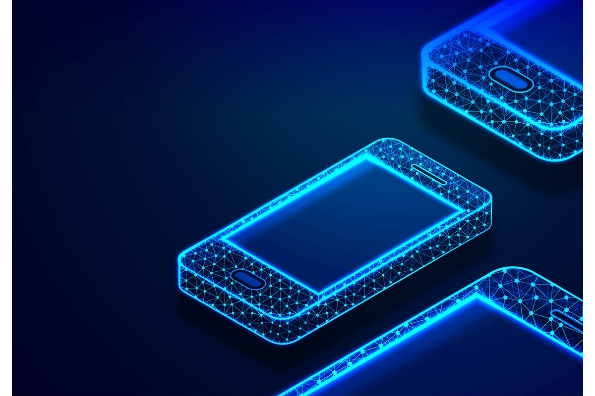 Isometric Smartphone. Phone with geometric structure, Commun example image 1
