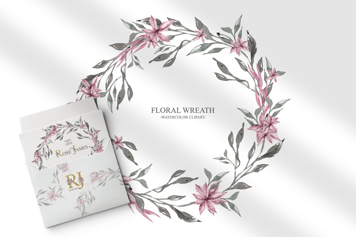 Watercolor floral wreath clipart example image 1