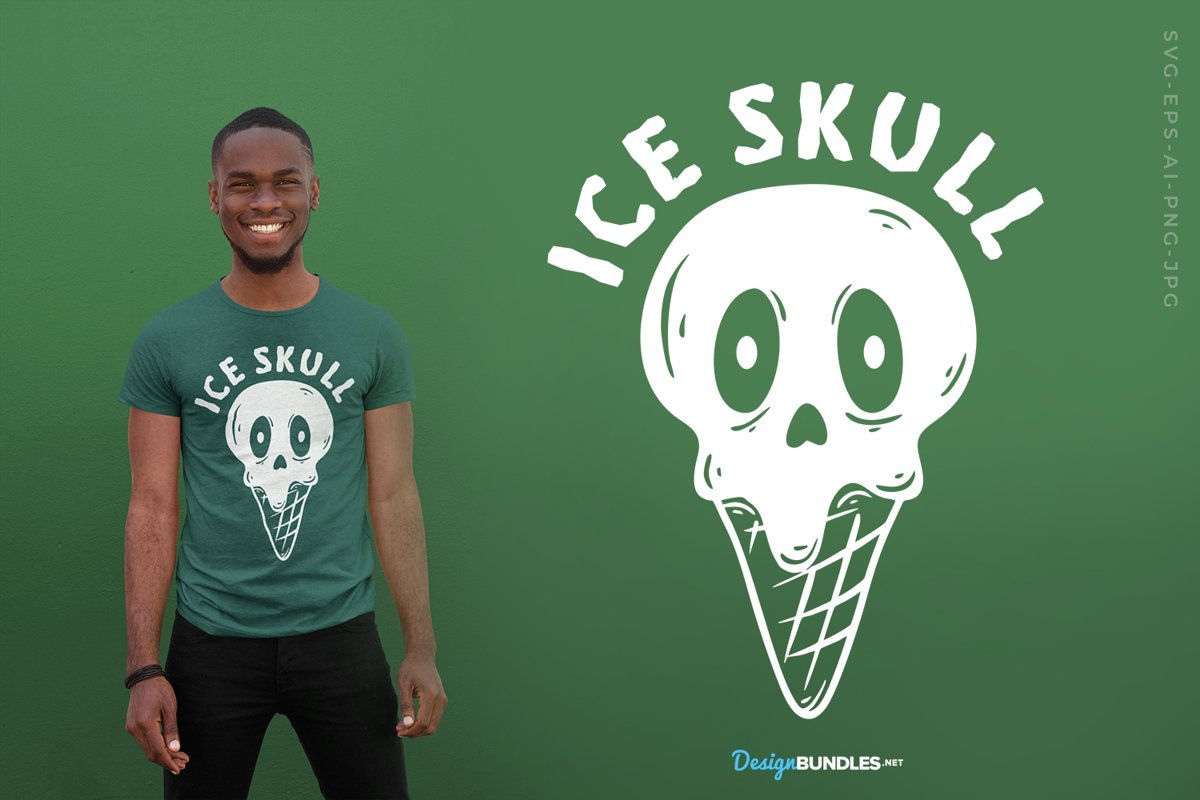 Ice Skull T-Shirt Design example image 1