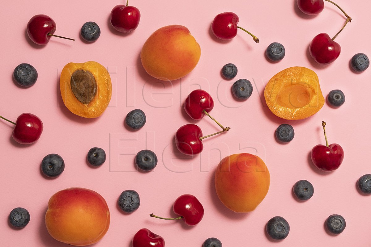 Fresh summer fruits and berries background, flat lay example image 1