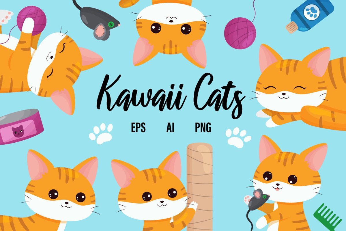 Vector set of Kawaii cartoon cats example image 1
