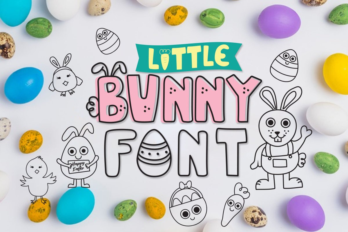 Little bunny font with easter doodles example image 1