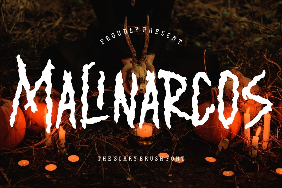Malinarcos - The Scary Brush Font example image 1