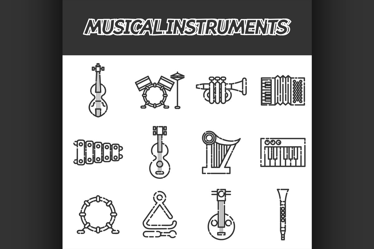 Musical instruments icon set example image 1