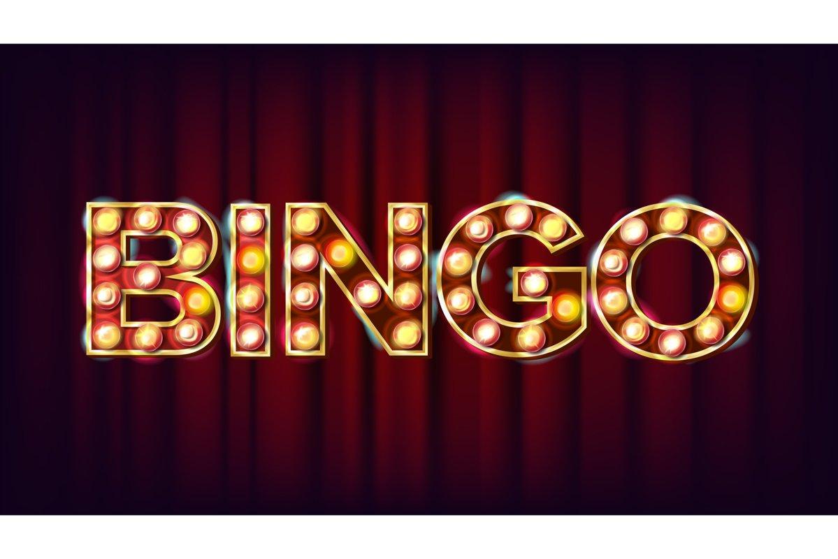 Bingo Banner Vector. Casino Glowing Lamps. For Fortune example image 1
