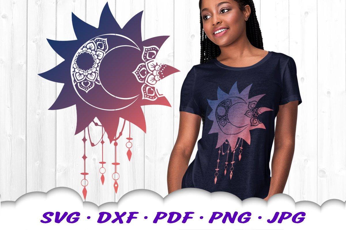 Celestial Dream Catcher Mandala SVG DXF Cut Files example image 1