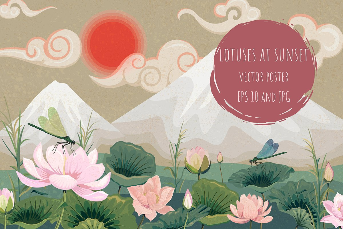 Lotuses at sunset. Vector poster example image 1