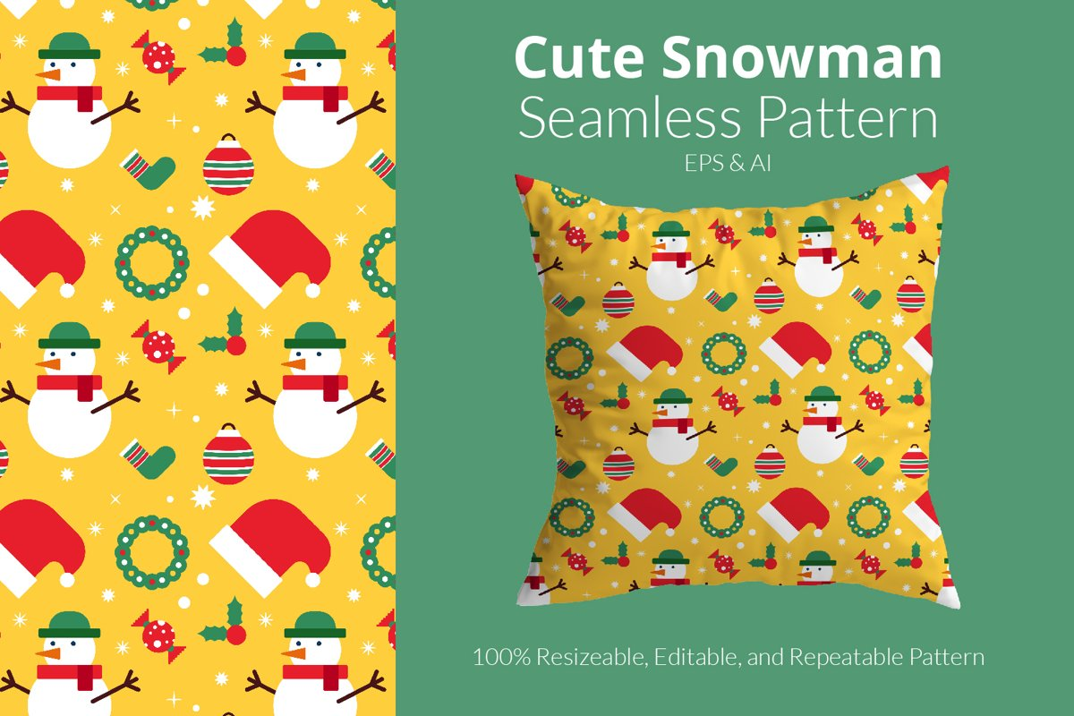 Cute Snowman Pattern - Seamless Pattern example image 1