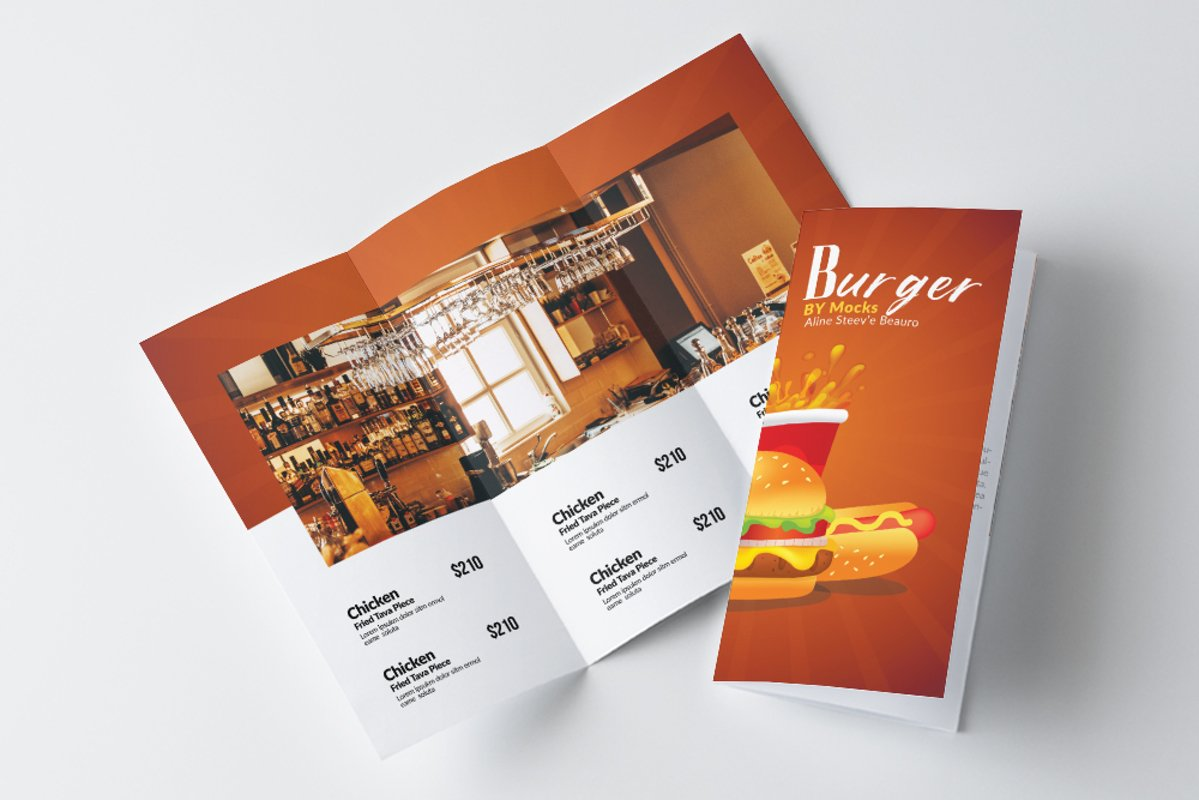 Fast Food Restaurant Trifold Brochure example image 1