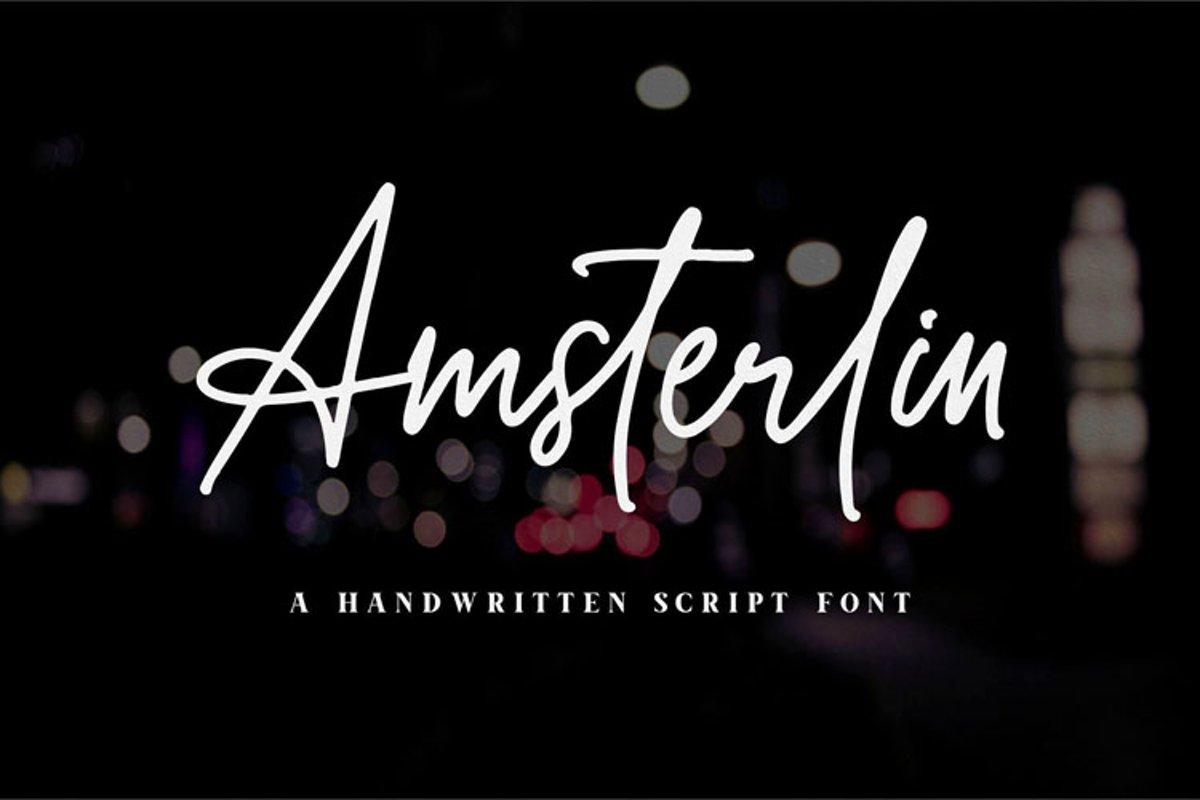 Amsterlin//Handwritten Script Font example image 1