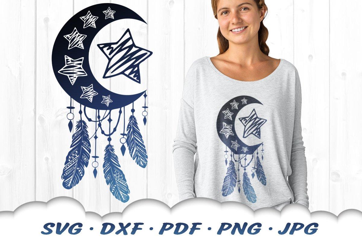 Doodle Stars & Moon Celestial Dreamcatcher SVG DXF Cut Files example image 1