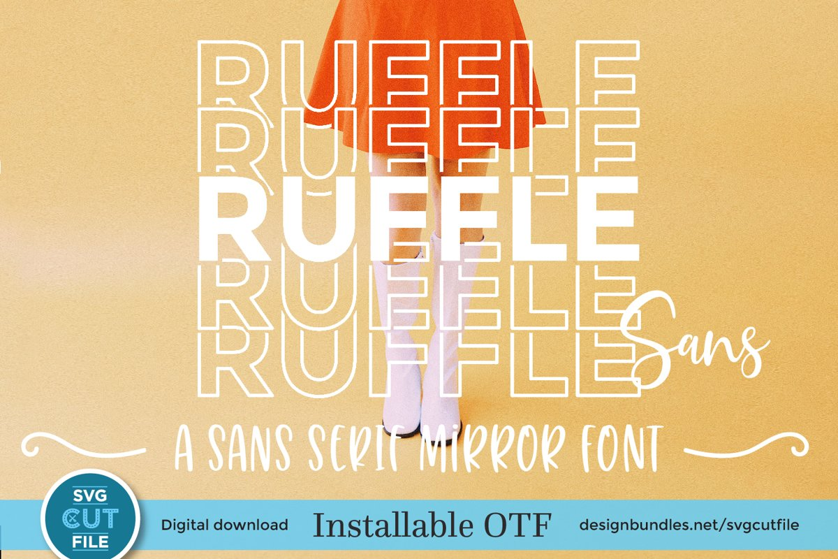 Ruffle Sans Mirror font with stacked letters - an OTF file example image 1