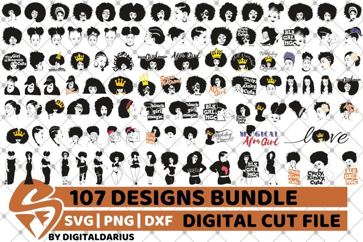 107x Black Woman Designs Bundle SVG, Black Queen, Melanin example image 1