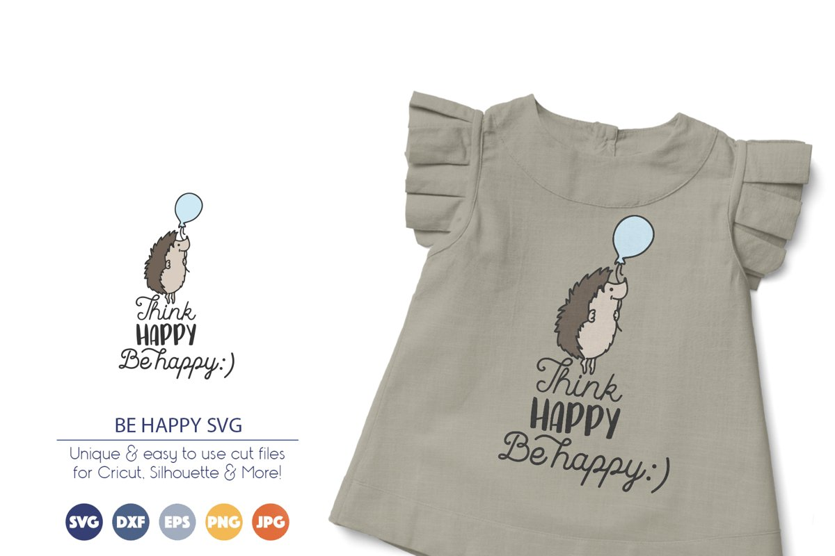 Hedgehog SVG | Think Happy, Be Happy example image 1