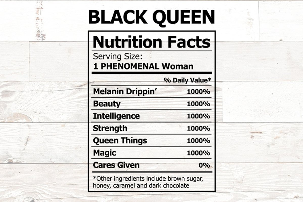 Download Black Queen Nutrition Label Phenomenal Woman svg (475120 ...