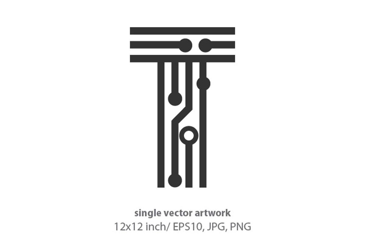 digital letter t- single vector artwork example image 1