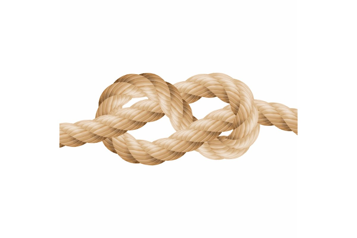 Realistic Rope Line Eith Knot. Yellow Twisted Ropes Set example image 1