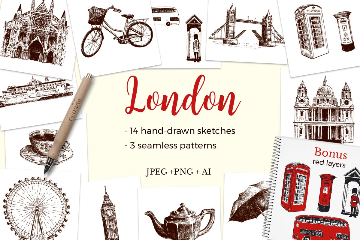 Set of London sketches example image 1