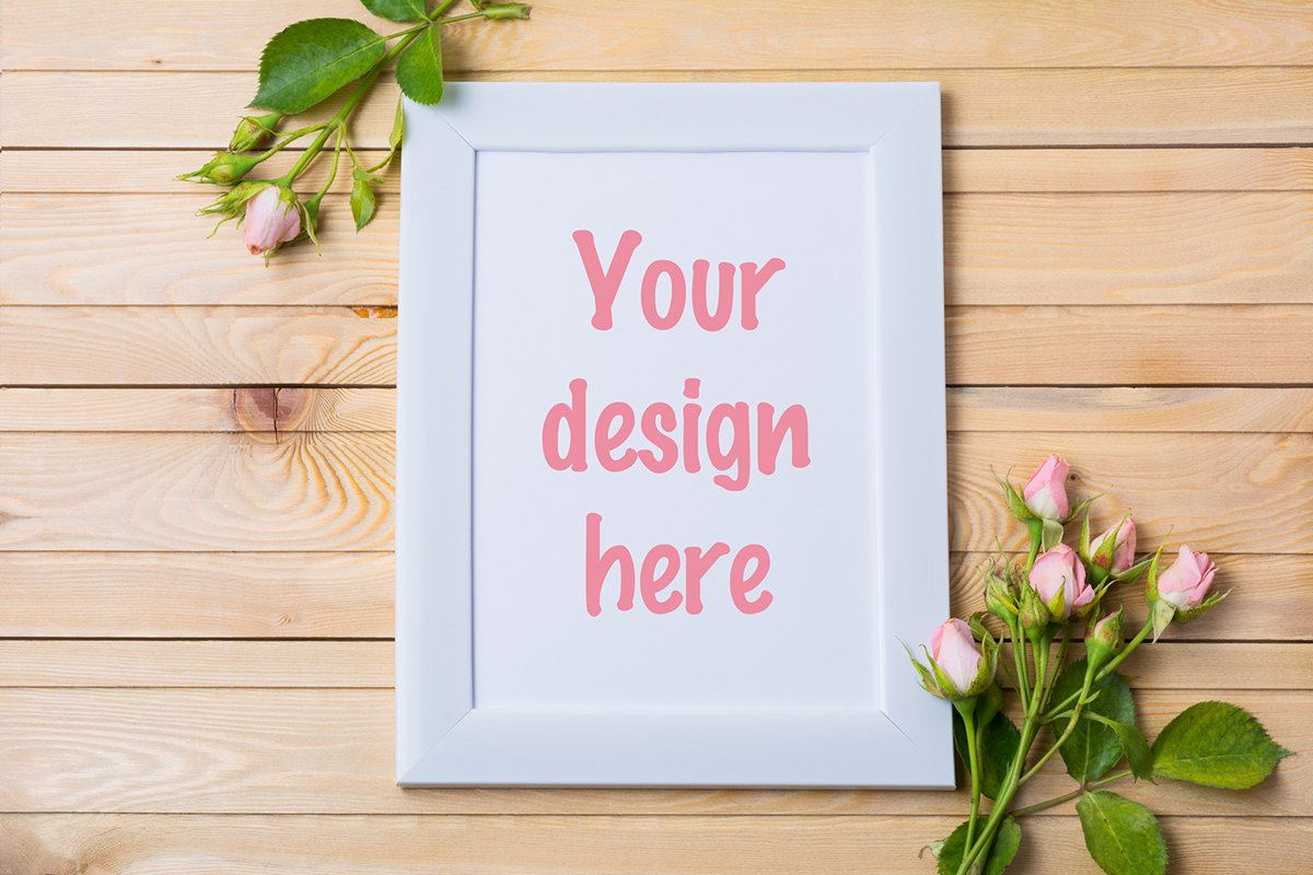 White rustic frame mockup with tender pale pink roses example image 1
