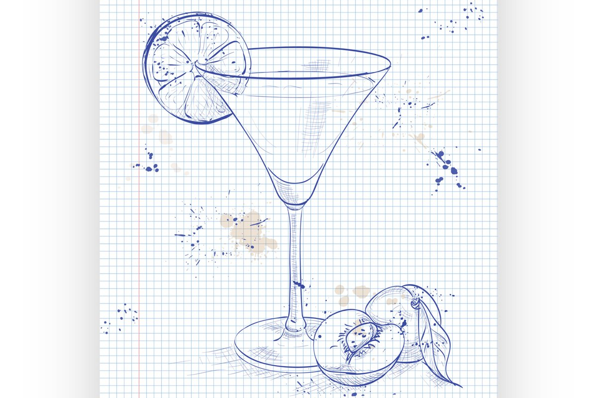Paradise alcoholic cocktail on a notebook page example image 1