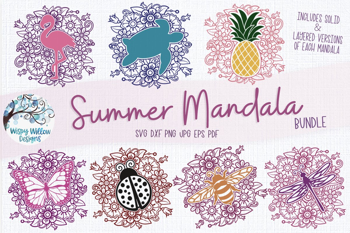 Summer Mandala SVG Bundle| Butterfly, Turtle, Bee, Flamingo example image 1