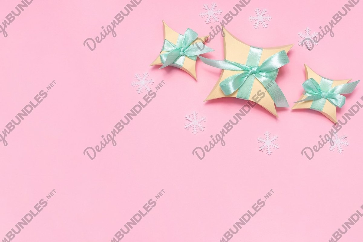 Yellow gift boxes with light green ribbon flat lay example image 1