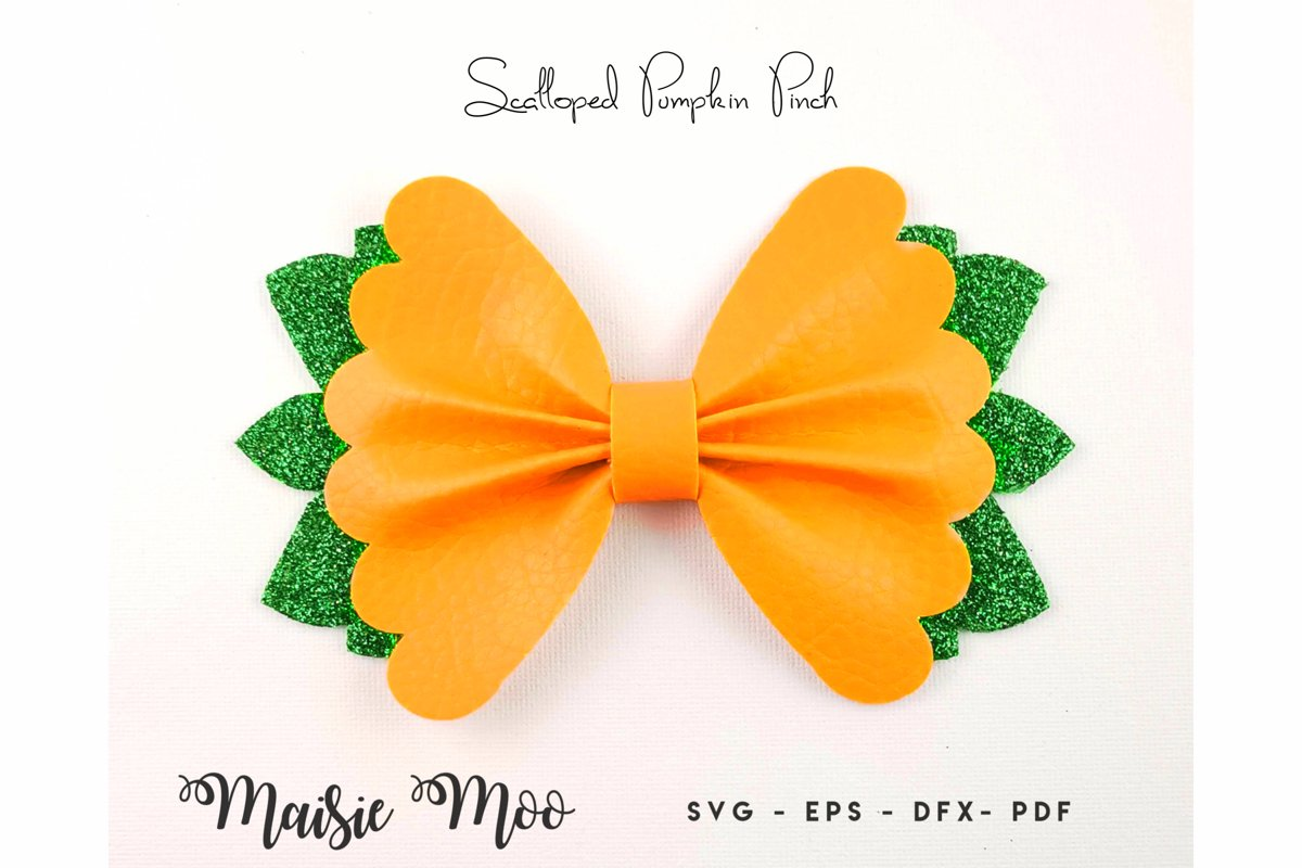 Scalloped Pinch Bow SVG, Pumpkin Halloween Bow Template, example image 1