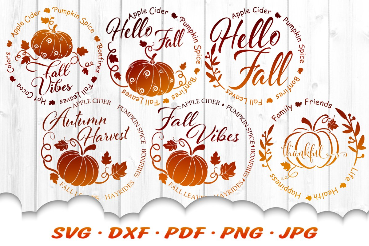 Hello Fall Vibes Pumpkin Rounds SVG DXF Cut Files Bundle example image 1
