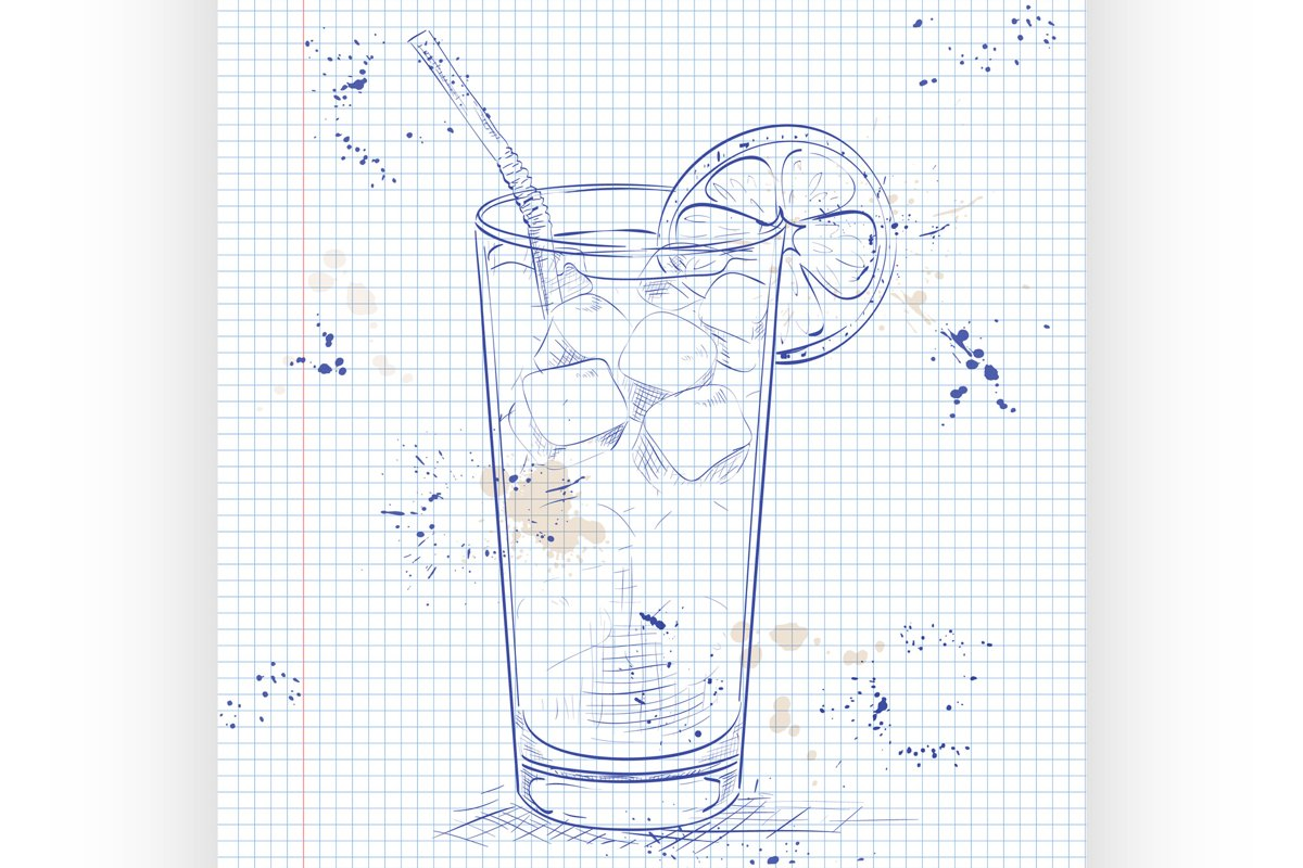 Cocktail Long Island Iced Tea on a notebook page example image 1