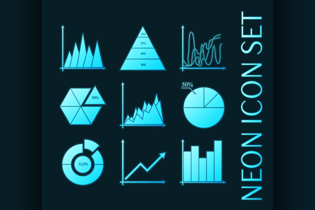 Set of Business charts, statistic, diagrams icons. example image 1