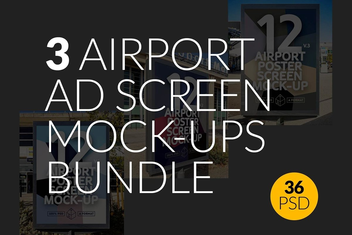 3 Airport Ad Screen Mock-Ups Bundle 2 / 36 PSD example image 1
