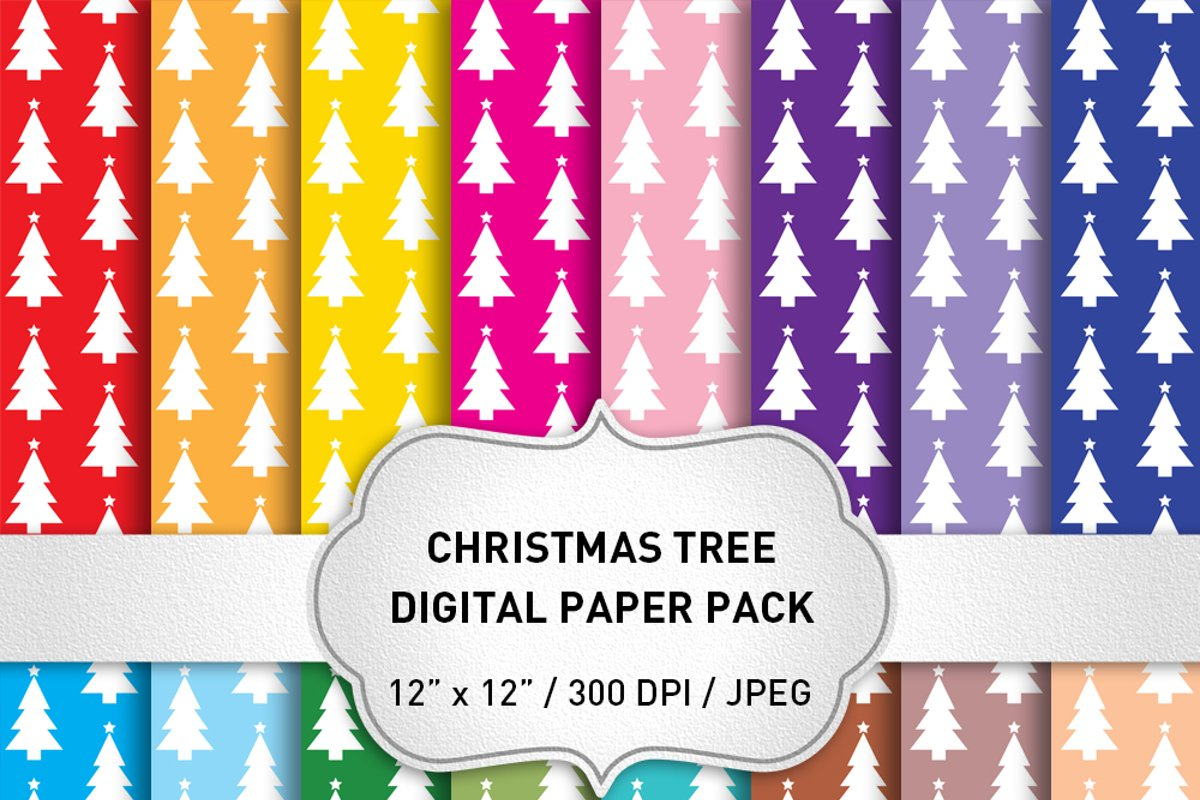 Christmas Digital Paper Pack / Christmas Tree Backgrounds example image 1