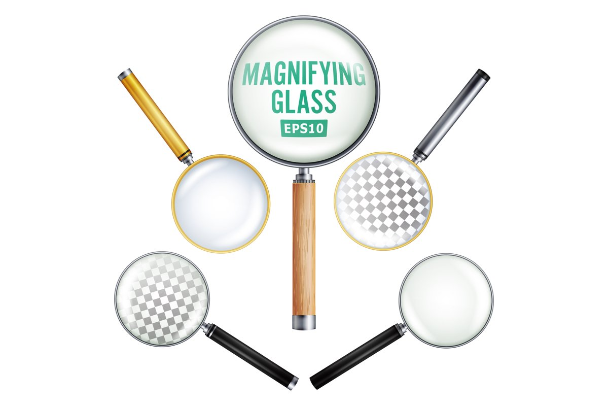 Realistic Magnifying Glass Vector. Set example image 1