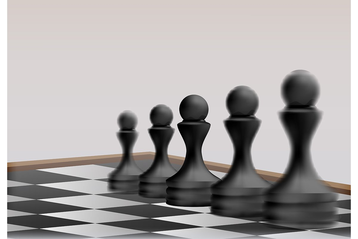 Chess pawn pieces on chess board. Business Strategy Concept. example image 1