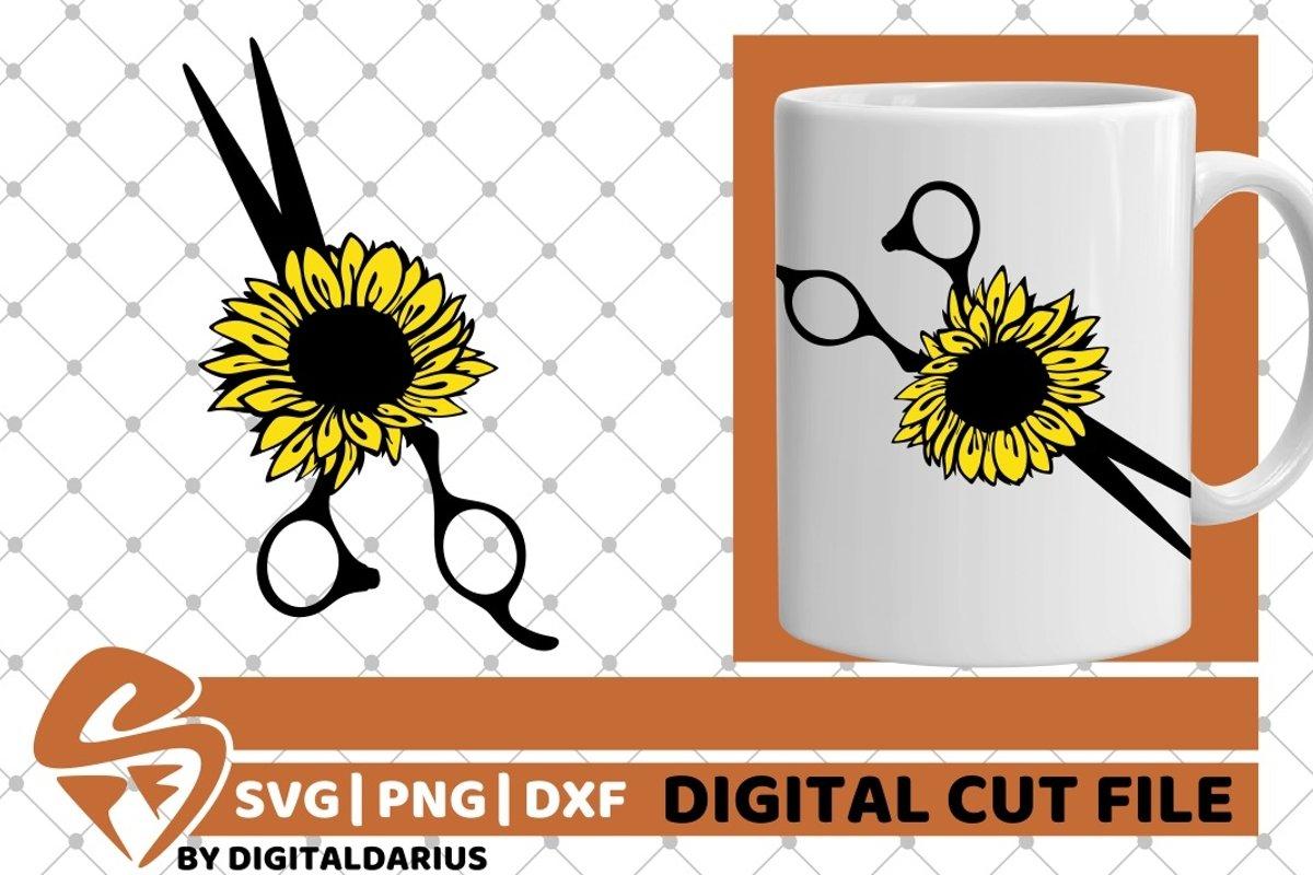 Scissors svg, Hairstylist svg, Hairdresser svg, Sunflower example image 1